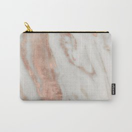 Marble Rose Gold Shimmery Marble Carry-All Pouch