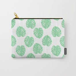 Palm Leaf tropical monstera house plant hipster mint and white home decor college dorm Carry-All Pouch