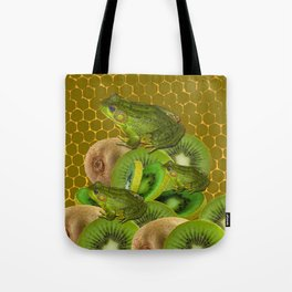 3 GREEN FROGS & KIWI FRUIT PATTERNED GREEN-GOLD ART FROM Tote Bag