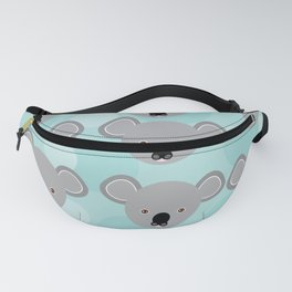 koala Seamless pattern with funny cute animal face on a blue background Fanny Pack