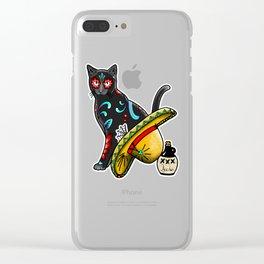 Gato en un Sombrero - Day of the Dead Sugar Skull Cat - Dia de los Muertos Kitty Clear iPhone Case