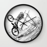 bikes Wall Clocks featuring bikes  by KayleeRae