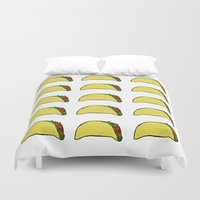 taco Duvet Covers featuring Taco Party by Leah Flores