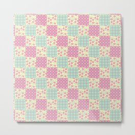 Green, Yellow & Pink Patchwork Pattern with Flowers & Polka Dot Designs Metal Print
