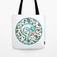 maori Tote Bags featuring Maori Dolphin by freebornline