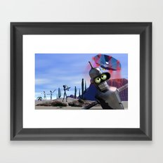 lost in middle of desert, looking for a f**ken Taxi Framed Art Print