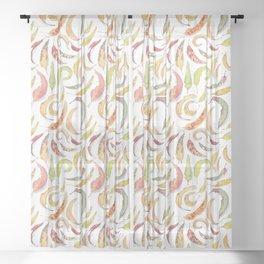 Eucalyptus leaves watercolour Sheer Curtain