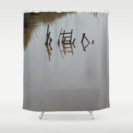 The river 's cryptic message Shower Curtain