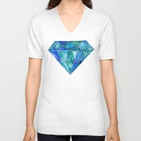 geode V-neck T-shirts featuring Aquamarine by Cat Coquillette