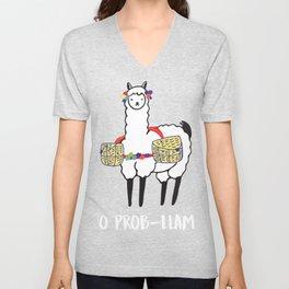 No Prob-Llama | Funny Cute Llama & Alpaca Lover Unisex V-Neck