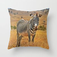 zebra Throw Pillows featuring Zebra by minx267