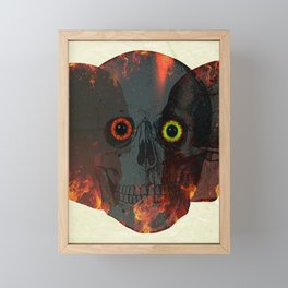 Demon Skull On Fire Framed Mini Art Print