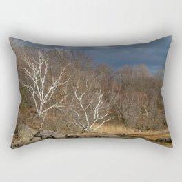 Moody Forest Birch Trees Rectangular Pillow
