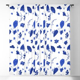 Blue Floral Pressed Flower and Leaf Pattern Blackout Curtain
