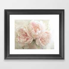 Shabby Chic Cottage Pastel Pink Peony Prints and Peony Home Decor Framed Art Print
