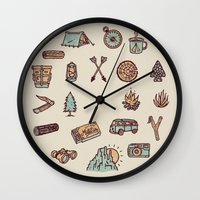 camping Wall Clocks featuring Lets Go Camping by WEAREYAWN