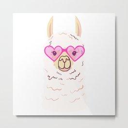 Cute Llama in trendy glasses Metal Print