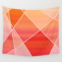 hot pink Wall Tapestries featuring Hot Pink Blush by jozi.art