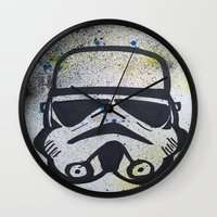 trooper Wall Clocks featuring Trooper by Cyndi Sabido
