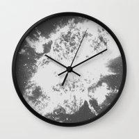 big bang Wall Clocks featuring Big Bang by Jonasethomsen