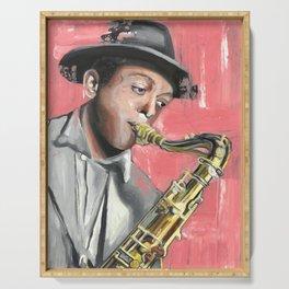 Miles Poster, Jazz Music Legend, American jazz saxophonist, Drawings Icon Portrait, Minimalist Wall Art Decor, Nursery Art Serving Tray