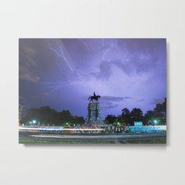 horizontal: Lightning Over Marcus David Peters Circle Metal Print