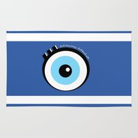 evil eye Area & Throw Rugs featuring Evil Eye by Monica Barela-Di Bisceglie