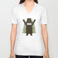 hug V-neck T-shirts featuring Bear Hug by powerpig
