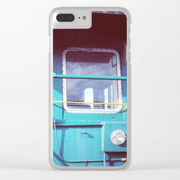 Locomotive in Turquoise Clear iPhone Case