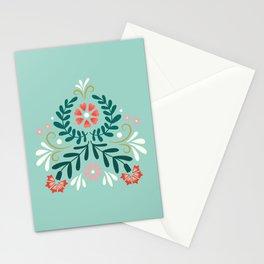Floral Folk Pattern Stationery Cards