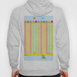 Beach cabins pattern stripes Hoody