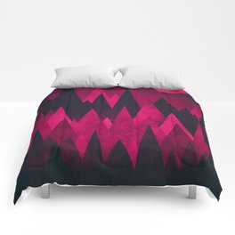 Dark Triangles (Peak Woods) Abstract Grunge Mountains Design (red/black) Comforters