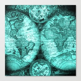 Vintage Turquoise Green Map Design Canvas Print