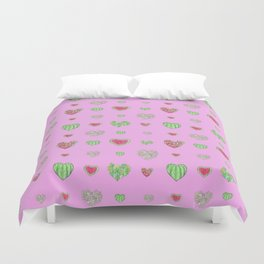 For the love of Watermelon - pink background Duvet Cover