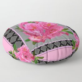 PINK ON PINK ROSE PATTERN GREY ART Floor Pillow