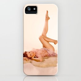"""Kicking Back"" - The Playful Pinup - Sexy Pin-up Girl on Fur Rug by Maxwell H. Johnson iPhone Case"