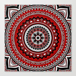 Red and Black Mandala Canvas Print