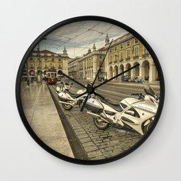 Lisbon Police Bikes  Wall Clock