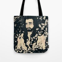 fireflies Tote Bags featuring fireflies by ladynorthstar