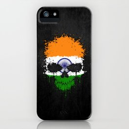 Flag of India on a Chaotic Splatter Skull iPhone Case