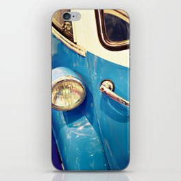 Headlight and handle door of vintage car iPhone Skin