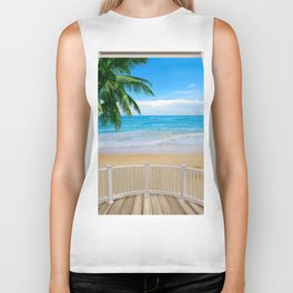 Balcony with a Beach Ocean View Biker Tank