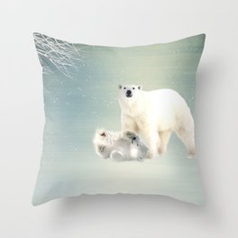 Arctic Family Throw Pillow