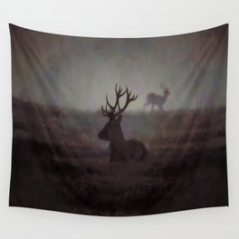 Silhouette Of A Highland Stag Wall Tapestry