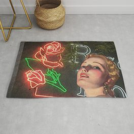 Red Neon Rose Rug