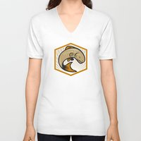 trout V-neck T-shirts featuring Trout Jumping Cartoon Shield by patrimonio