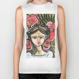 "Portrait ""Mexican Girl"" Face art Biker Tank"