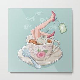 Tea for two legs-Surreal-Fantasy-Humor Metal Print
