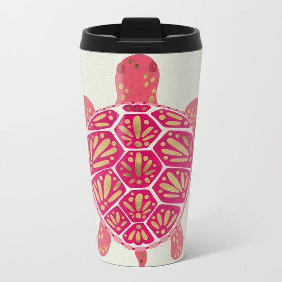 Sea Turtle – Pink & Gold Metal Travel Mug