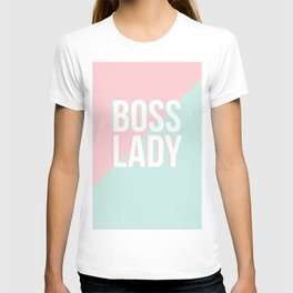 Boss Lady - Pastel Pink and Aqua #bosslady #society6 #typography T-shirt